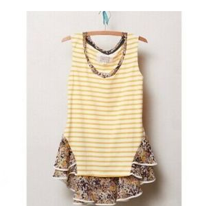 Anthropologie Postmark New-Stripe Peplum Tank XS